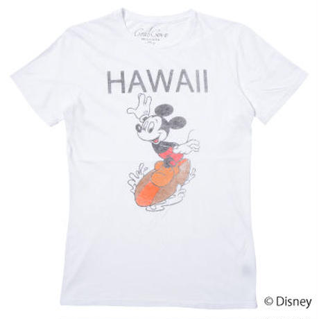 <MICKEY MOUSE> HAWAII SURF TEE (WHITE)No.099