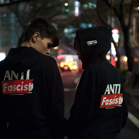 Hoodie: ANTI Fascist Hero back printed/full zip