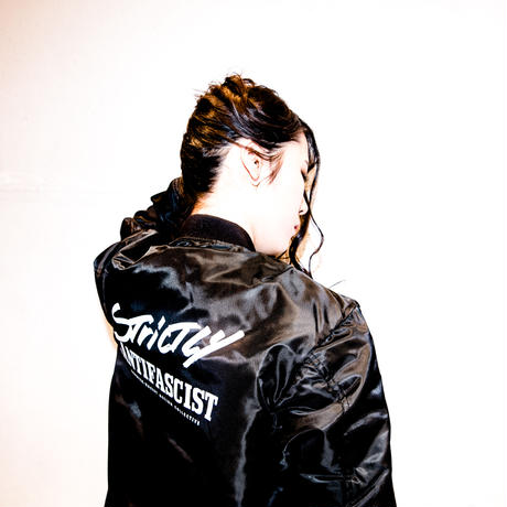 Strictly Antifascist Flight Jacket (black / back printed)