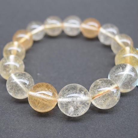 「ルチルクォーツ・珠径11~15mmのグラデーション・腕サイズ15cm」珠の大きさの変化が面白い高品質ルチルブレスレットです♪[AA16]