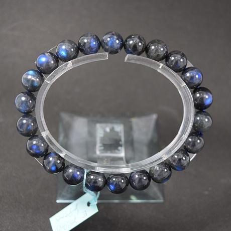 「アンデシンラブラドライトキャッツアイ・珠径9-9.5mm・腕サイズ15.5/16/16.5cm」美しく青い光がこぼれる希少な石です!