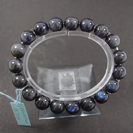 「アンデシンラブラドライトキャッツアイ・珠径10-10.5mm・腕サイズ15.5cm」美しく青い光がこぼれる希少な石です[AD93.94]