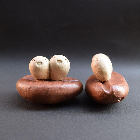 「コーヒー豆ツインズ」コーヒー豆の妖精さんかな?的な土ぼっくり♪