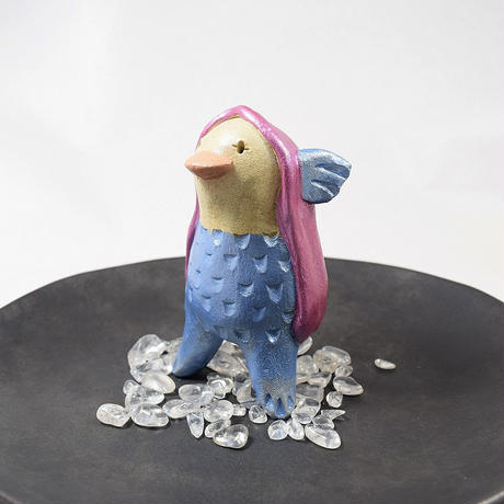 【制作終了】「アマビエさん・水晶付き」豊作を予言し疫病を除ける伝説のキャラクターを土ぼっくり風味で作りました♪!