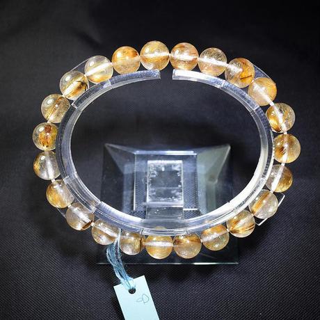 「ルチルクォーツ・ゴールドブラウンのタイチン入り・珠径8mm・腕サイズ16cm」深みのある輝きのルチル入り水晶♪[AA41]