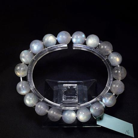 「ラブラドライト・高品質・珠径10mm・腕サイズ16cm」透明感のあるグレーの中からこぼれる虹色の輝き![AB77/78]