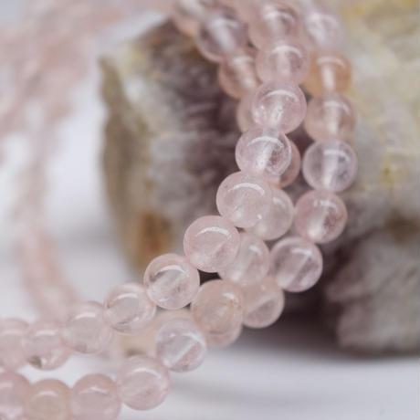 「モルガナイト・珠径6.5mm・腕サイズ16cm」ピンクのアクアマリン♪肌なじみの良いピンク色です♪[AB03-16]