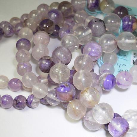 「エンジェルシリカ・珠径10mm・腕サイズ16cm(01)」【サービス特価】優しい紫のマーブル模様が魅力的♪[AB02]