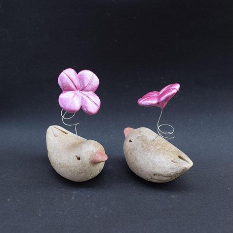「ぴーだま君」ハッピークローバーの生えた小鳥型土ぼっくり君。ちょっとボリュームアップしました♪
