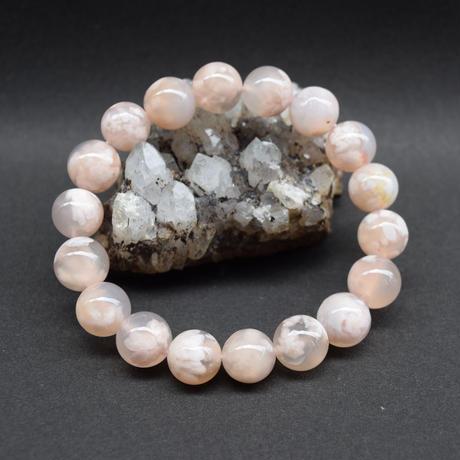 「桜アゲート・珠径11.5mm・腕サイズ16cm」春色の珍しい天然石ブレスレット「AD63」