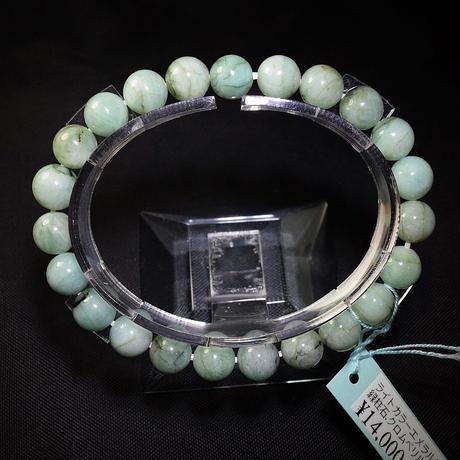 「エメラルド・ライトカラー・珠径8-8.5mm・腕サイズ16cm」【特価品】爽やかグリーンのライトカラー♪[AA81]