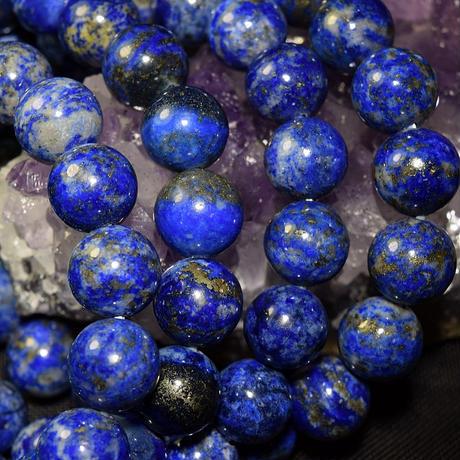 「ラピスラズリ・珠径10mm・腕サイズ15.5/16cm」白い部分との対比が宇宙から見た地球みたい♪美しい青です♪