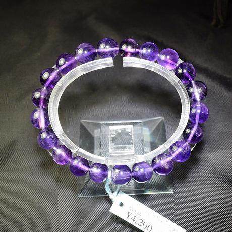 「アメジスト・グラデーションカラー・珠径9-9.5mm・腕サイズ16cm・(02)」表情のあるブレスレットです♪[AC33]
