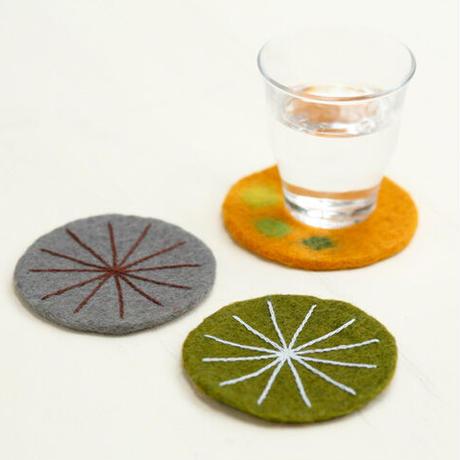 フェルト刺しゅうコースター2枚組(グリーン・グレー)|50288