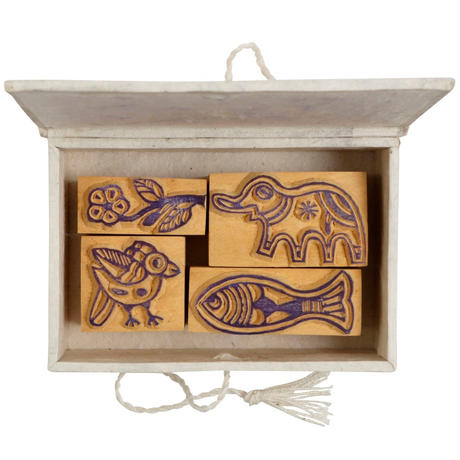木彫はんこセット ミティラ|6470