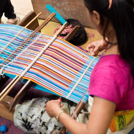 カラフル手織ポーチ(鳥マスコット付)|39038