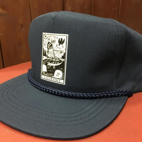 DEATH CARD  POPLIN HAT. navy
