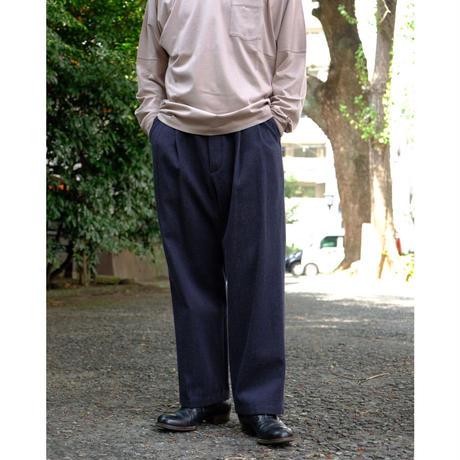 Blanc YM / Wool Wide Denim Pants / col.Navy