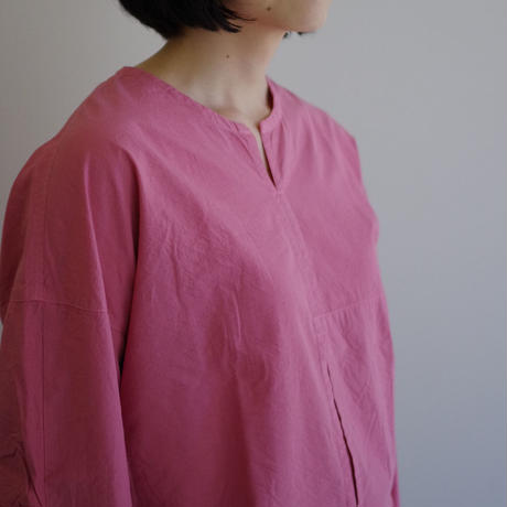 THE HINOKI / オーガニックコットンポプリン プルオーバーシャツ / col.ピンク