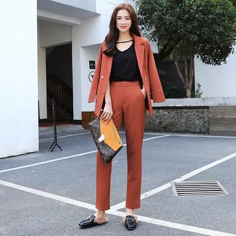 レディース セットアップ フォーマル ジャケット パンツ 大きい おしゃれ 韓国 ダブルブレスト ノッチ襟 ブレザーロングパンツ スーツ カジュアル