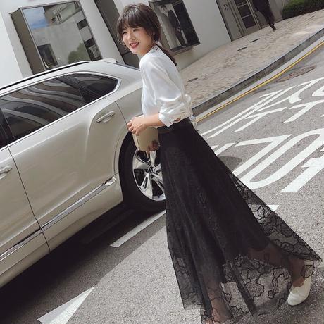 レディース スカート ハイウエスト カジュアル Aライン  刺繍 ブラック
