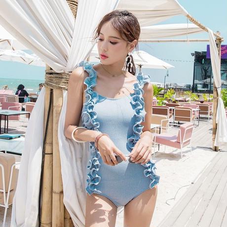 レディース 水着 体型カバー プチプラ 韓国 可愛い 大きいサイズ ワンピース  海外 ビキニ タンキニ 水色 レース