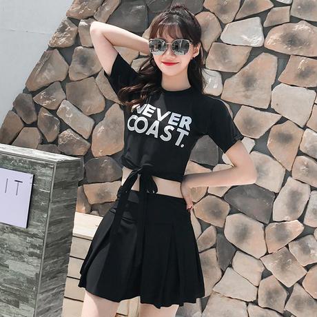 韓国 水着 ワンピース 大きいサイズ 可愛い タンキニ 半袖
