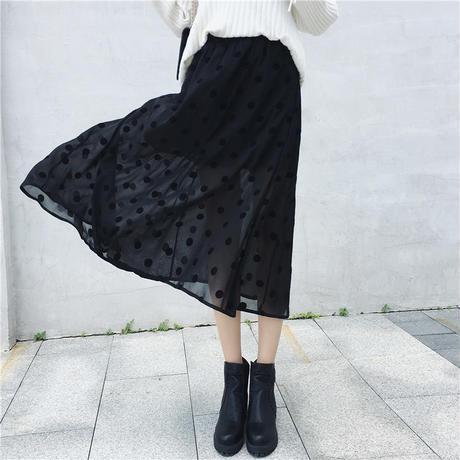 スカート Aライン ポルカドット刺繍  ハイウエスト ロング