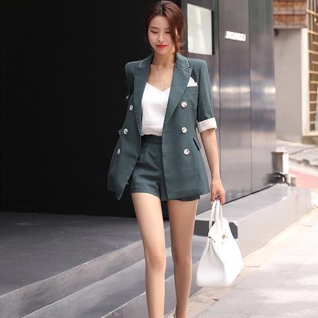 レディース セットアップ フォーマル ジャケット パンツ 大きい おしゃれ 韓国 エレガント ショート スーツセット ブレザー ハイウエスト