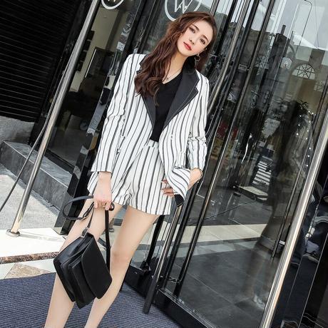 レディース セットアップ フォーマル ジャケット パンツ 大きい おしゃれ 韓国 夏 ストライプ 半袖 スーツ Vネック ブレザー