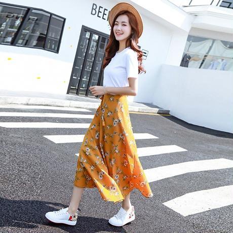 スカート 花柄 ラップ マキシ丈