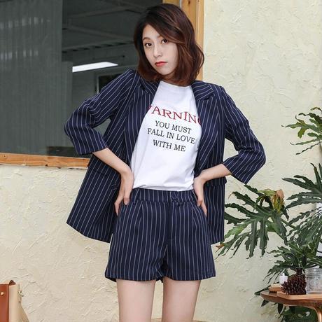 レディース セットアップ フォーマル ジャケット パンツ 大きい おしゃれ 韓国 ストライプ ファッション ノッチ ブレザー ハイウエスト ショート ブルーストライプ