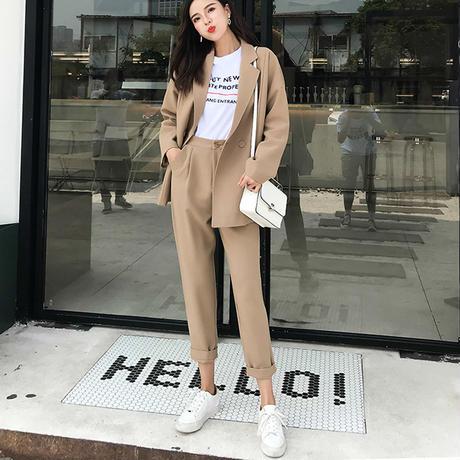 レディース セットアップ フォーマル ジャケット パンツ 大きい おしゃれ 韓国カジュアル ソリッド ノッチ襟 ブレザー カーキ