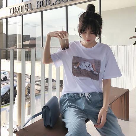 Tシャツ プリント 半袖 ラウンドネック