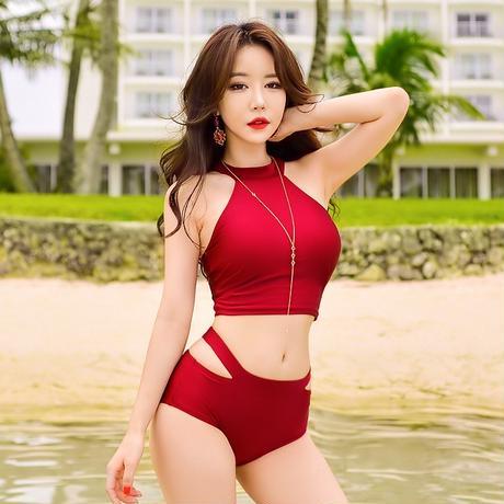 韓国 水着 ワンピース 大きいサイズ 可愛い ハイネック 赤