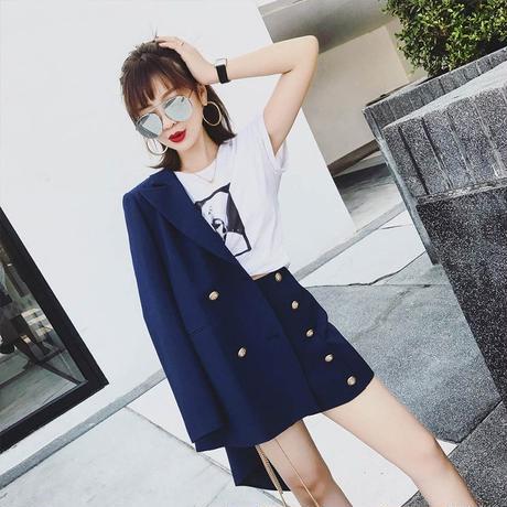 レディース セットアップ フォーマル ジャケット パンツ 大きい おしゃれ 韓国 エレガント ショート ホワイト ブルー ブラック ブレザー ハイウエスト トラックスーツ