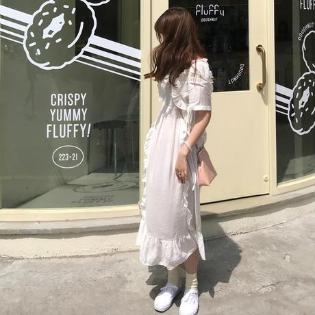 ワンピース  ロング ホワイト フリル ドレス Aライン