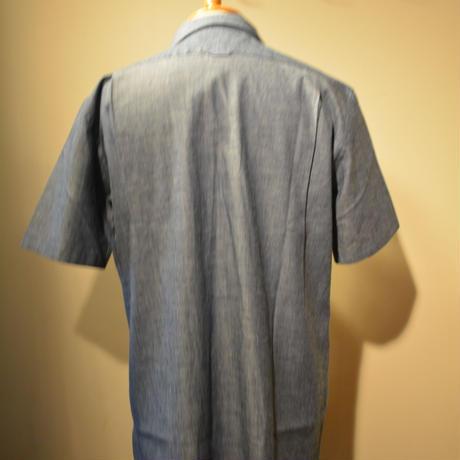 kenneth field 20ss open collar shirt -chambray-