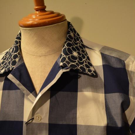 kenneth field open collar shirt -ginghamcheck-
