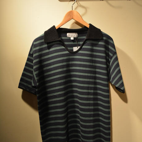 kenneth field T&F polo ネイビー×グリーン