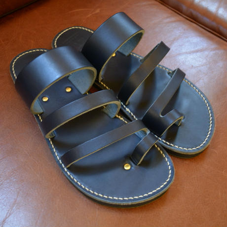 "PLUSON SHOE SUPPLY LEATHERSANDAL""NAVY"""