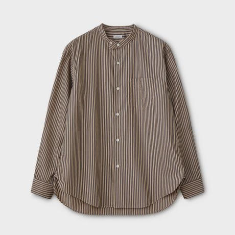 PHIGVEL MAKERS & Co.  PMAL-LS02 / BAND COLLAR DRESS SHIRT (STRIPE・NAVY×BEIGE)