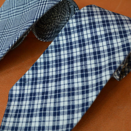 boncoura ネクタイ -indigo check series- (deadstock fabric)