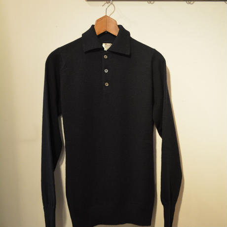 kenneth field 20aw −knitted polo by William Lockie−(NAVY)