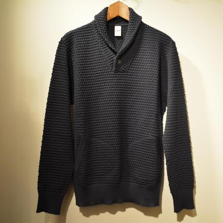 GRP  spotknit shawlcollar -BLU-