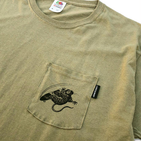 "野坂稔和×CREIGHT ""SKATE RAT CustomPocket TEE"" /SAND KHAKI"