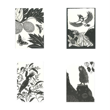 ポストカードセット 切り紙の森