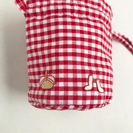 namakekakemono | ころんとした巾着/ 赤ギンガムチェック