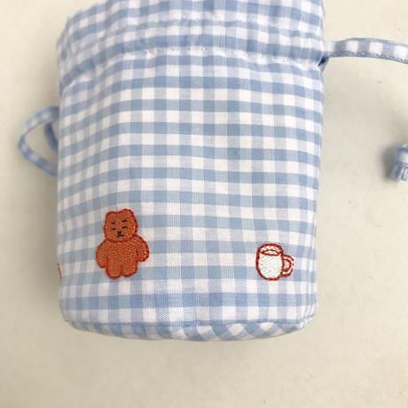 namakekakemono | ころんとした巾着/ 水色ギンガムチェック