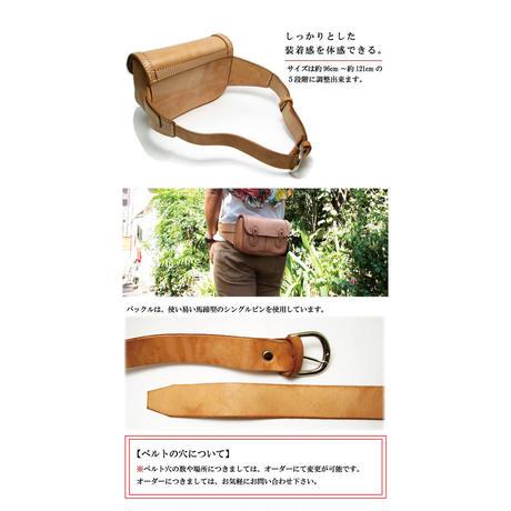 熟練職人 手作り ヌメ革使用 レザーウェストポーチfmbp_w_n
